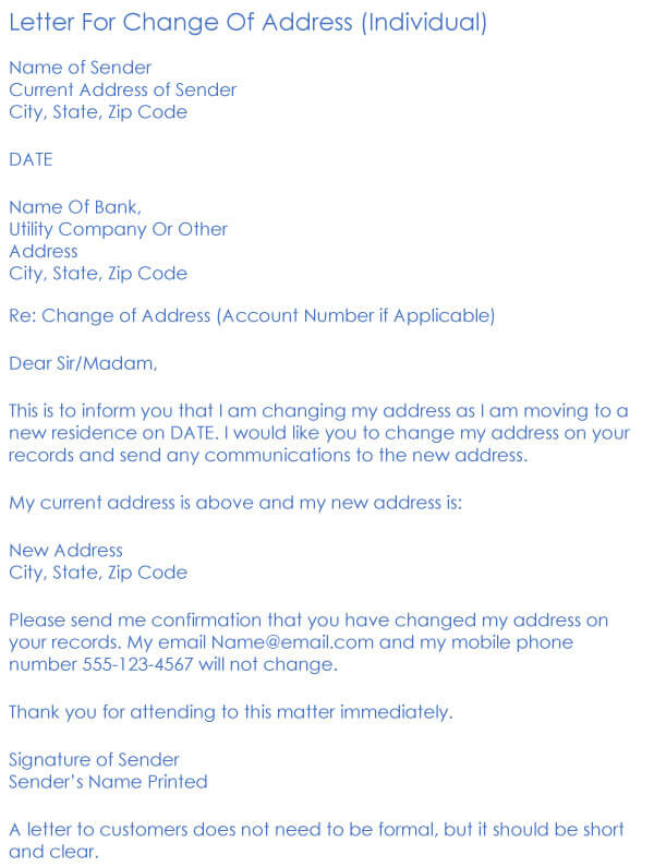 Change Of Address Request Letter Sample 06