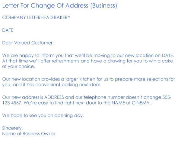 Change Of Address Request Letter Sample 08