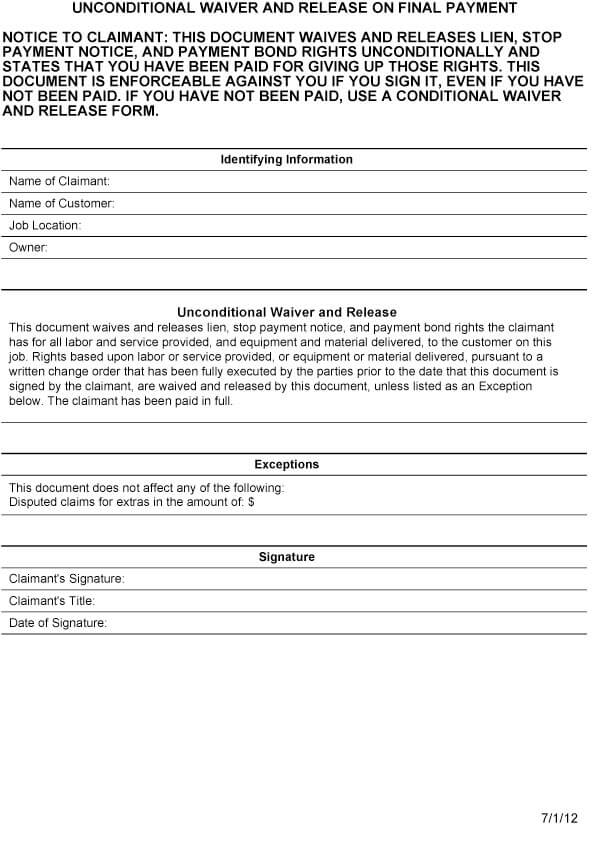 Conditional Contractor's Lien Release Form Sample 03