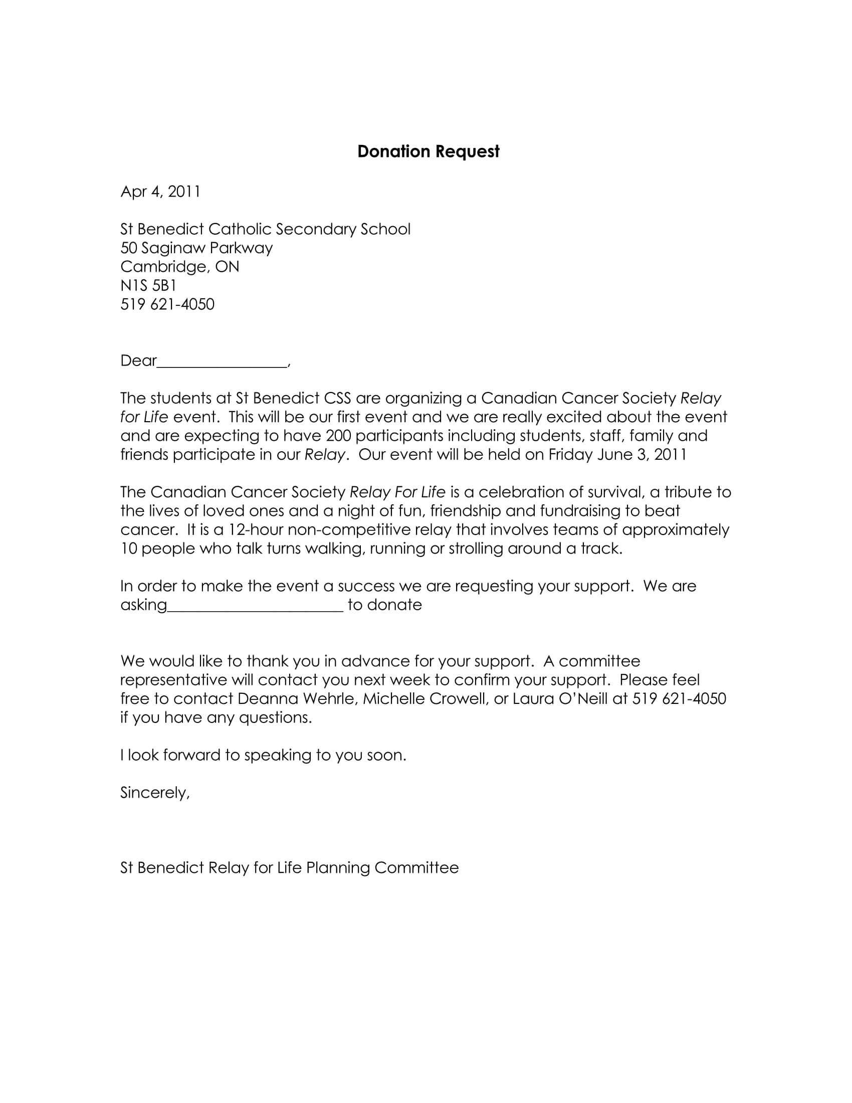Donation Request Letter 08