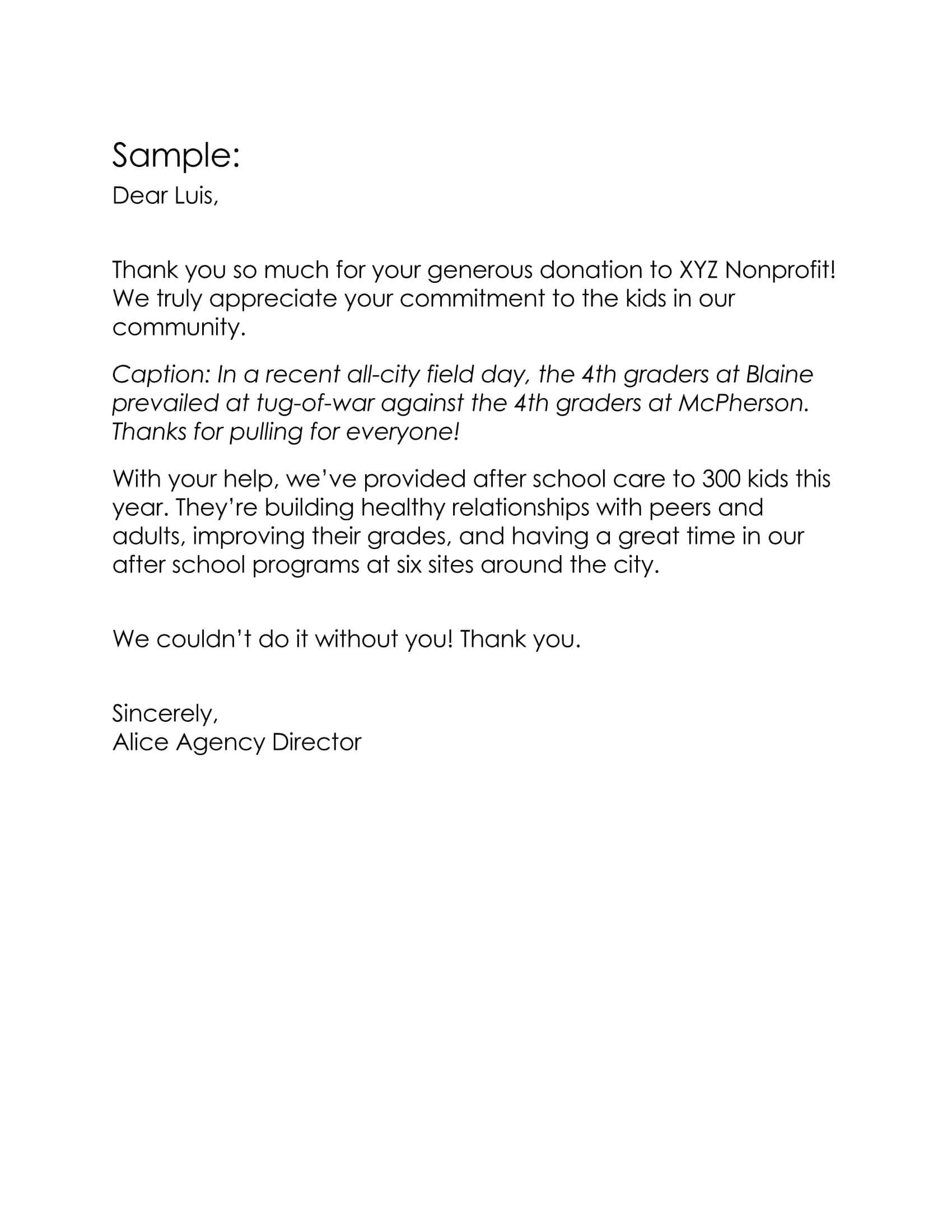 Donation Thank You Letter Sample 03