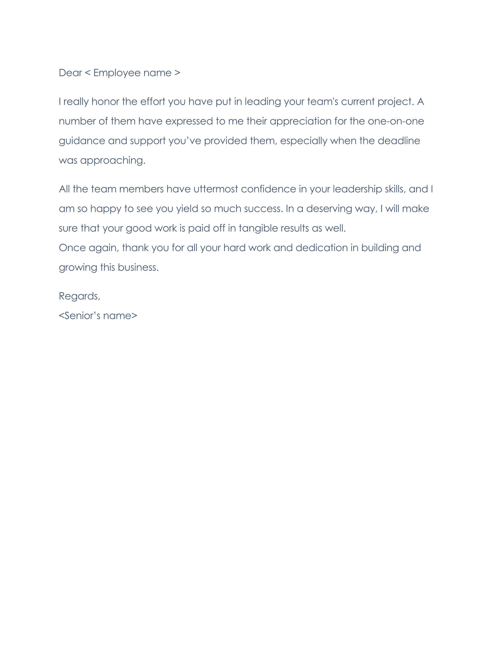 Employee Thank You Letter Sample 03