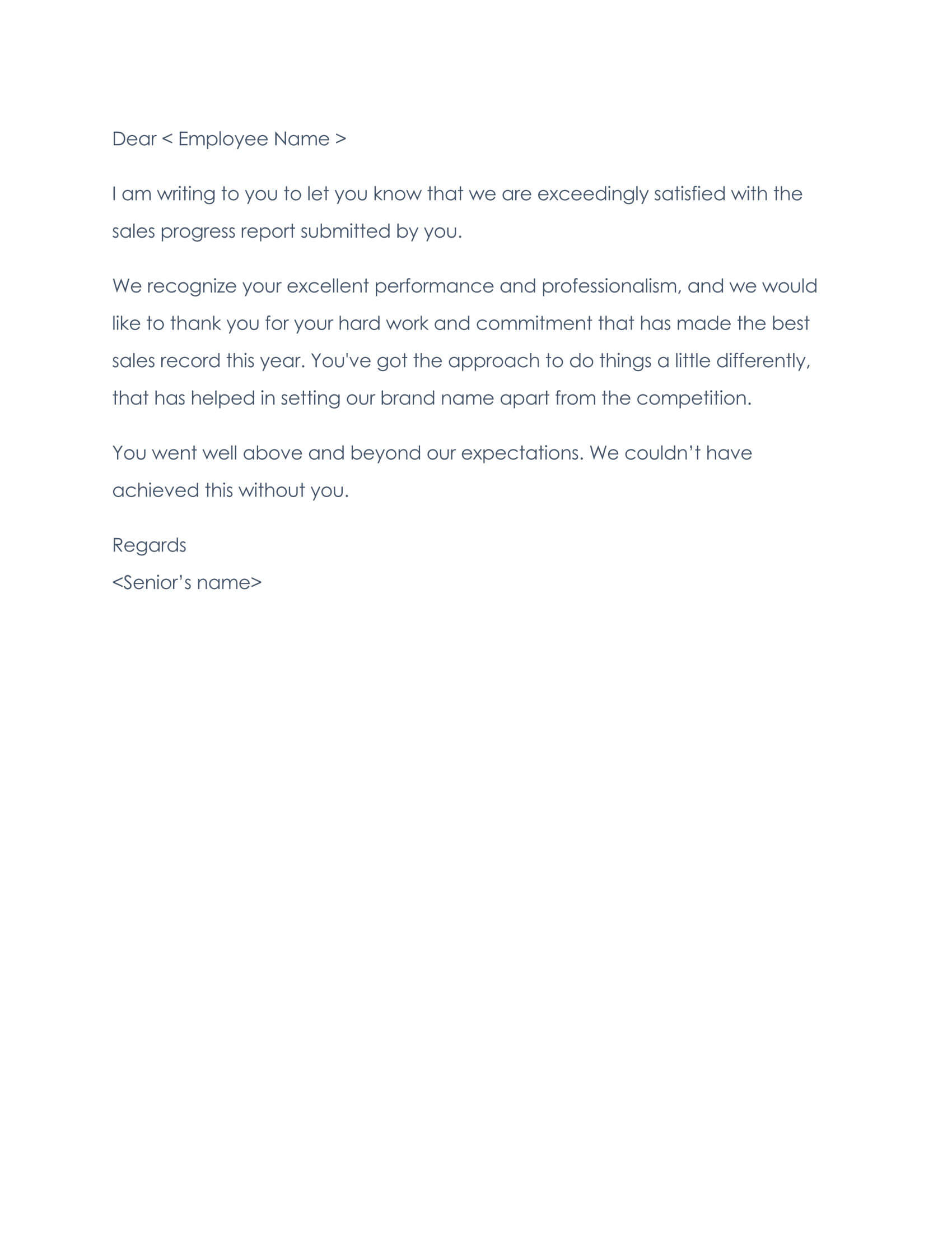 Employee Thank You Letter Sample 05