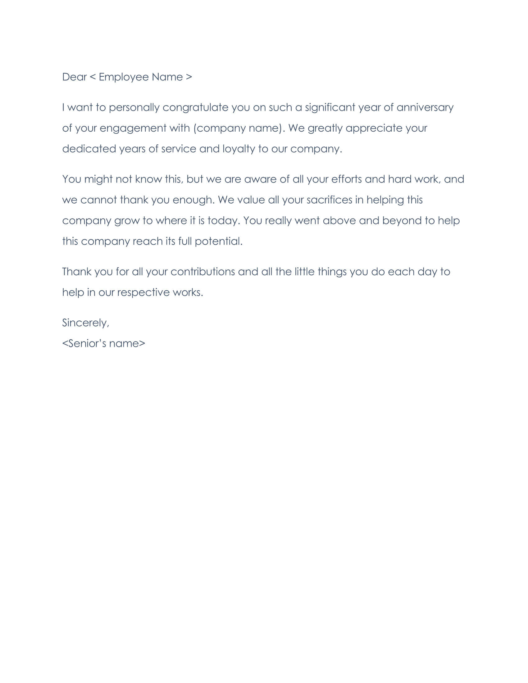 Employee Thank You Letter Sample 07
