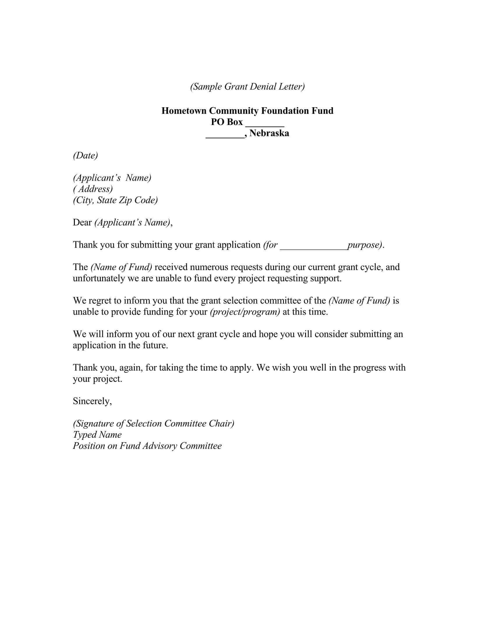 Grant Request Letter Sample 06