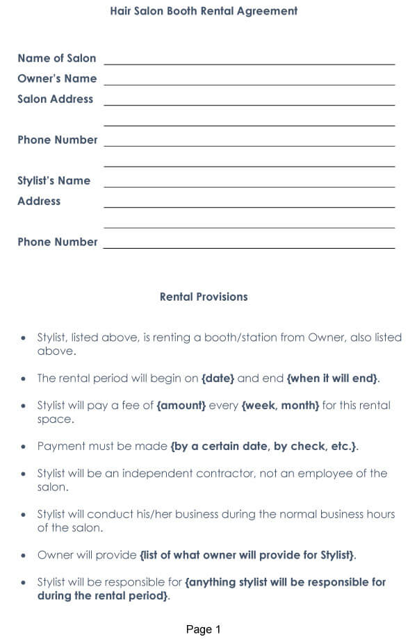Booth Salon Rental Agreement 05