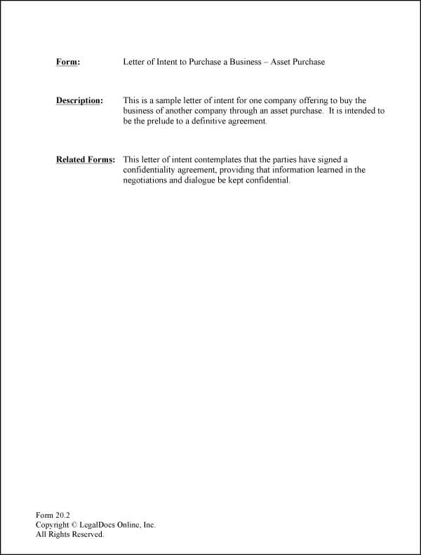 Business Purchase Letter Of Intent Sample 05