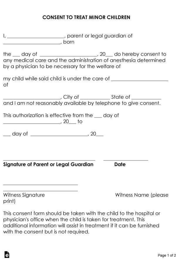 Child Medical Consent Form Sample 14