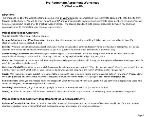 College Roommate Agreement Template 07