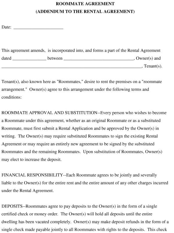 College Roommate Agreement Template 08