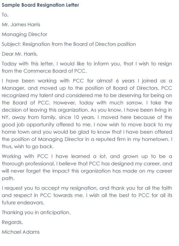 Board Resignation Letter Sample 11