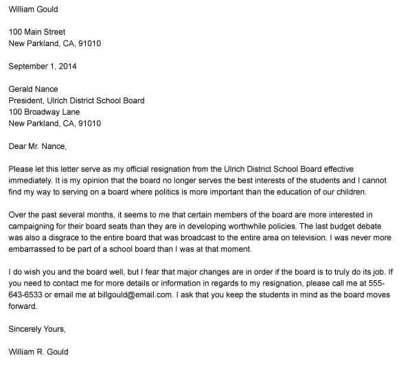 Board Resignation Letter Sample 14