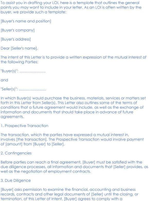 Business Purchase Letter Of Intent Sample 06