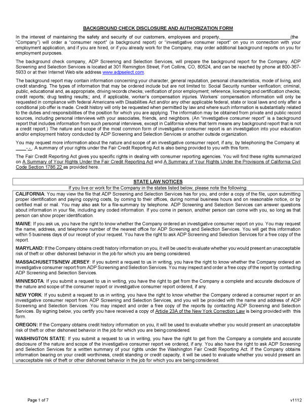 Background Check Form 11