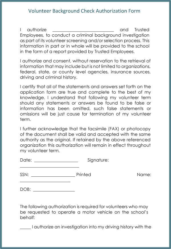 Background Check Form Sample 15