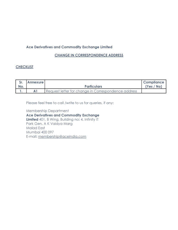 Change Of Address Request Letter Sample 14