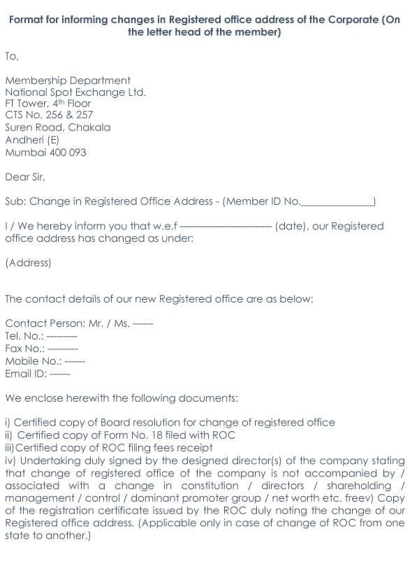 Change Of Address Request Letter Sample 15