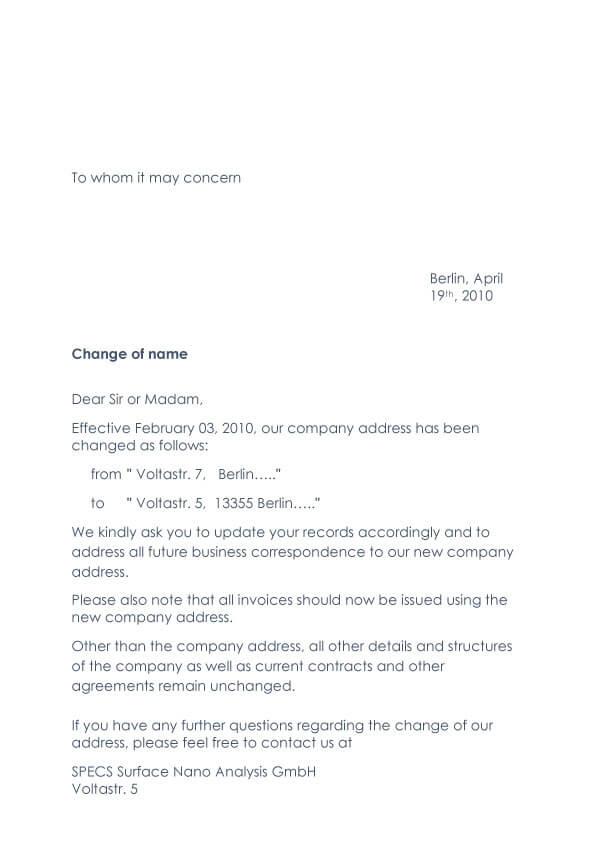 Change Of Address Request Letter Sample 10