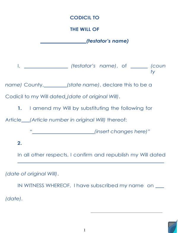 Codicil To Will Form 07