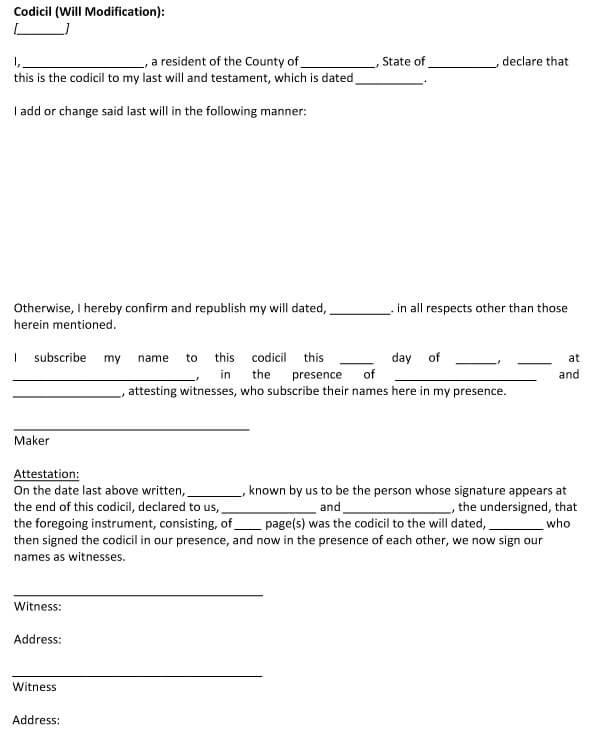 Codicil To Will Form 05