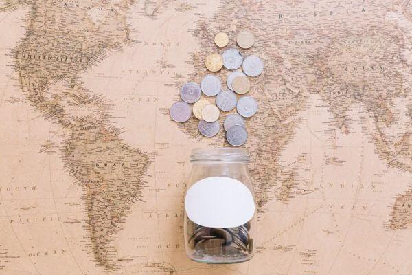 coins open jar world map