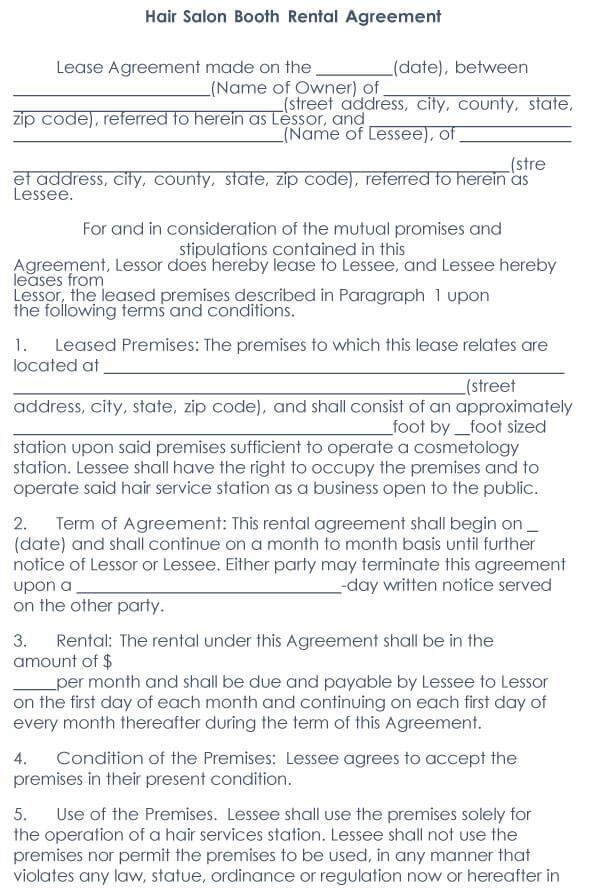 Booth Salon Rental Agreement 06
