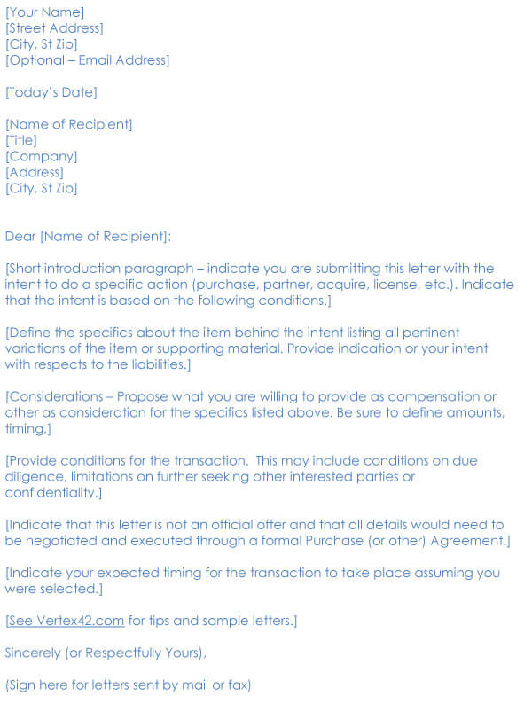 Business Purchase Letter Of Intent Sample 04