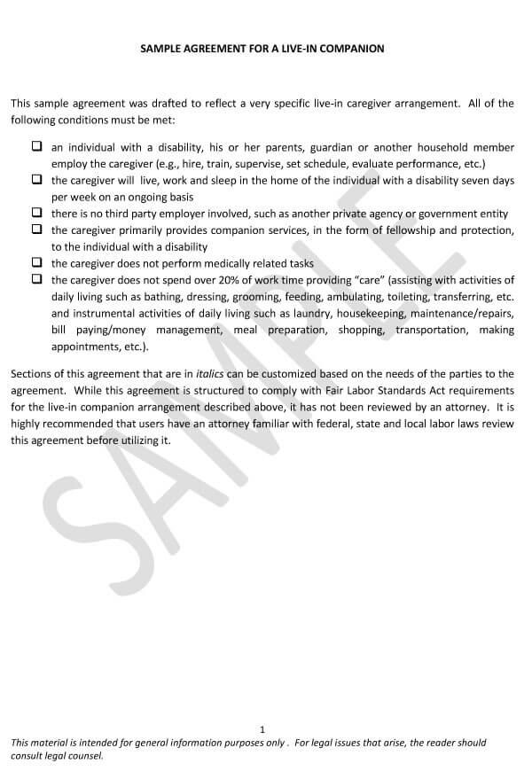 Caregiver Agreement 06