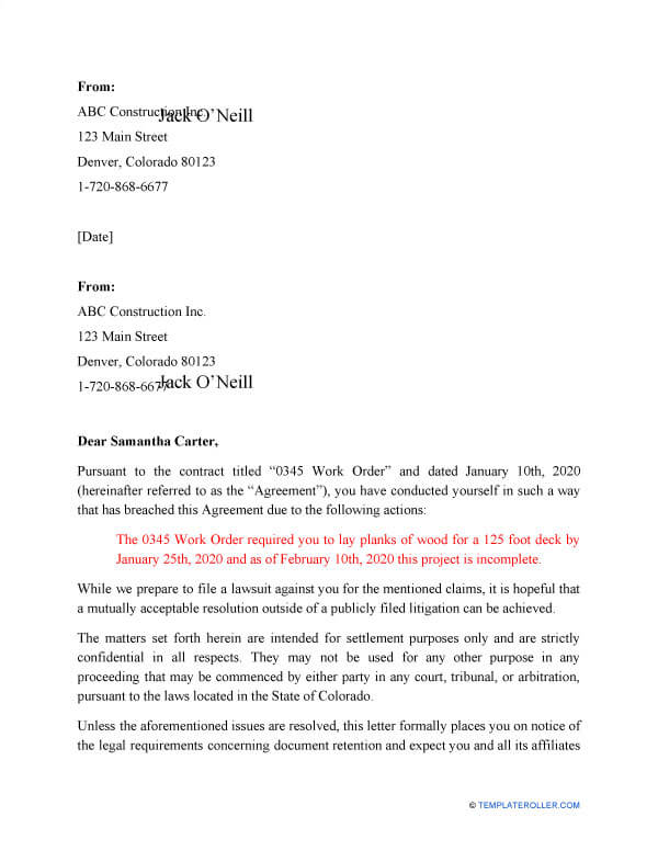 Breach Of Contract Sample 10
