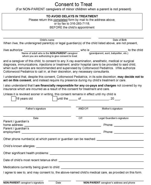 Child Medical Consent Form Sample 05