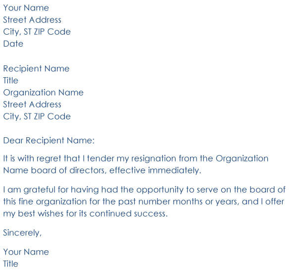 Board Resignation Letter 09