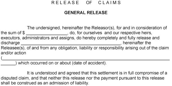 Car Accident Release Of Liability Form Sample 13