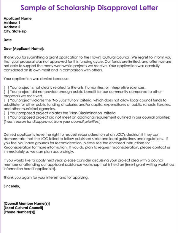 Scholarship Rejection Letter How To Write Examples Templates