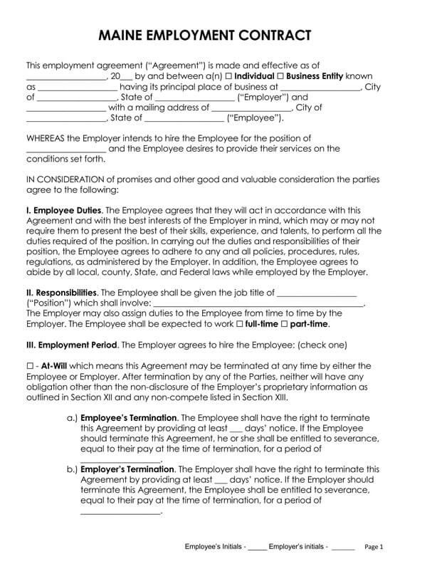 Maine-Employment-Contract_