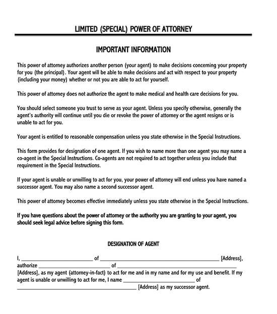 limited power of attorney form 06
