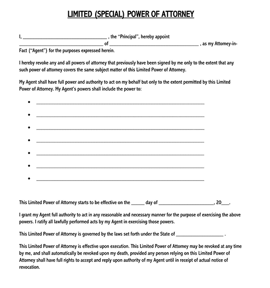 limited power of attorney form for motor vehicle 07