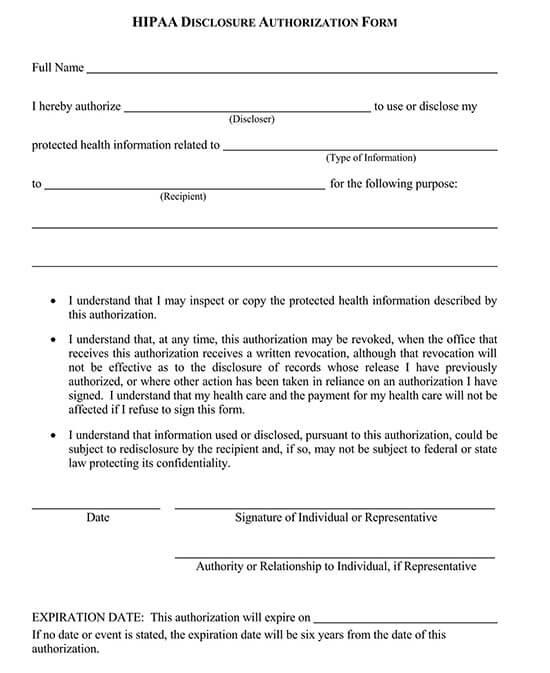 printable medical release form free printable hipaa forms 02