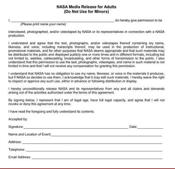 Adult Media Release Form 1