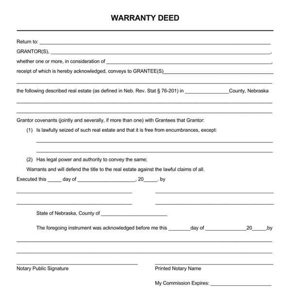 Nebraska-General-Warranty-Deed-Form