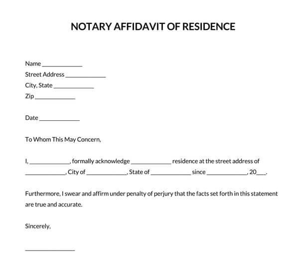 Notary-Affidavit-of-Residence-Letter