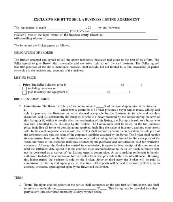 Business Entity Listing Agreement Page 1