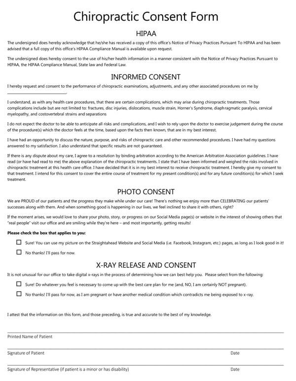 Chiropractic HIPAA Consent Form