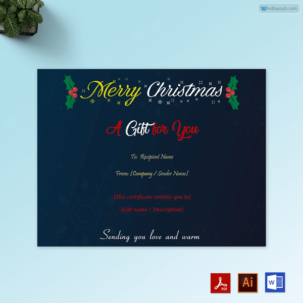 Merry Christmas Gift Certificate