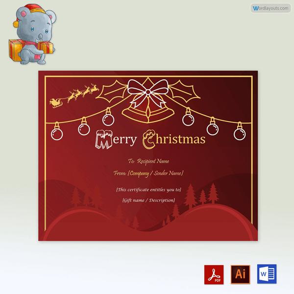 Jingle Bell Free Christmas Gift Certificate