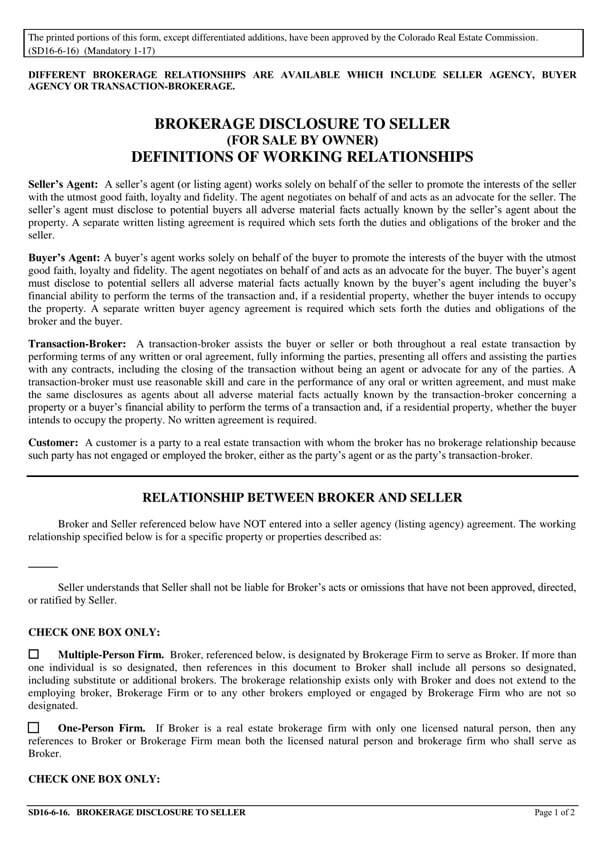 Colorado-Brokerage-Disclosure-to-Seller