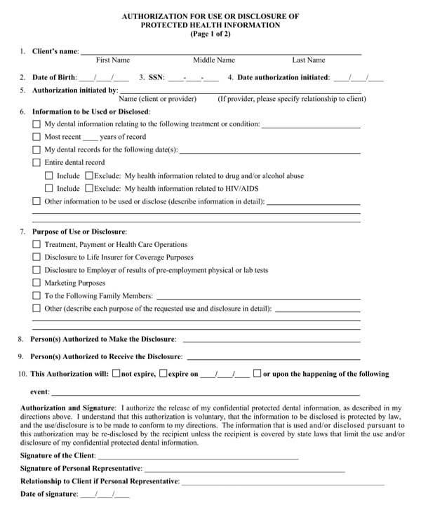 Dental HIPAA Release Form