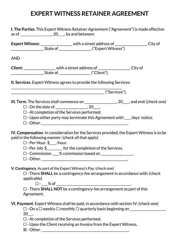 Expert Witness Retainer Agreement