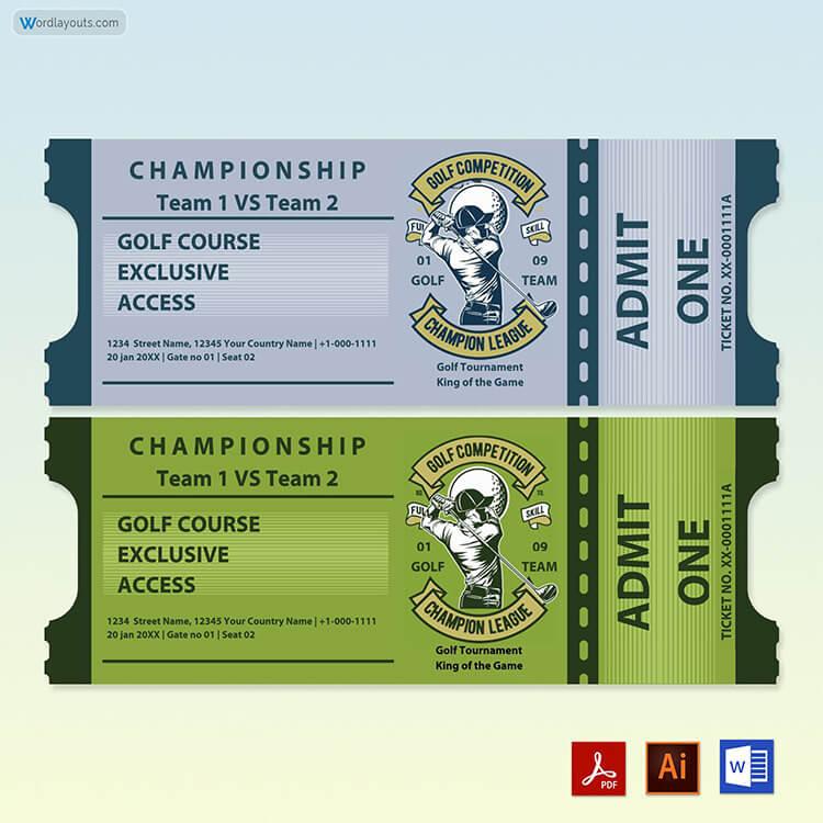 Golf Raffle Ticket Template Free