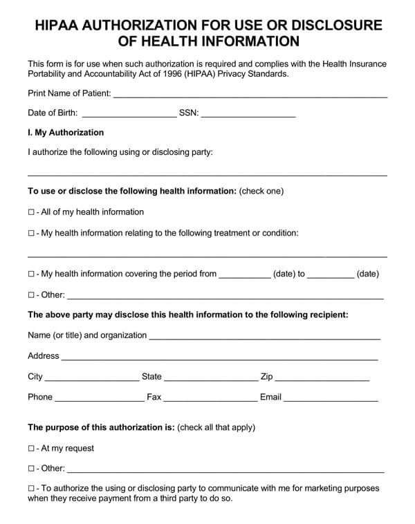 HIPAA Authorization for Disclosure of Health Information