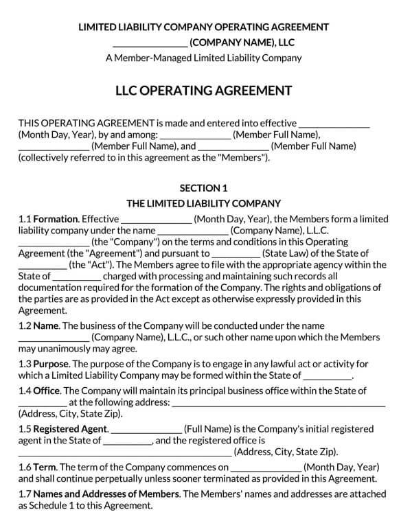 Multi-Member-LLC-Operating-Agreement-Template